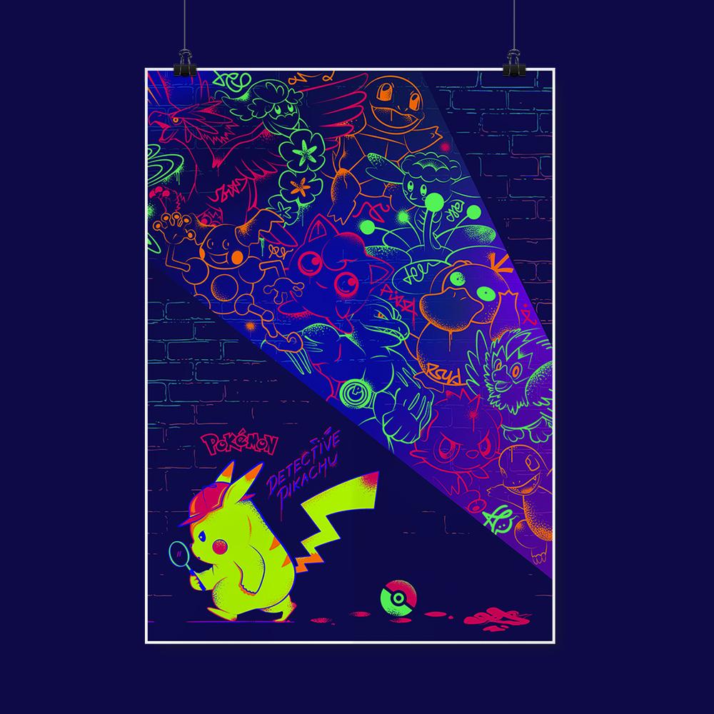 Detective Pikachu Neon Poster